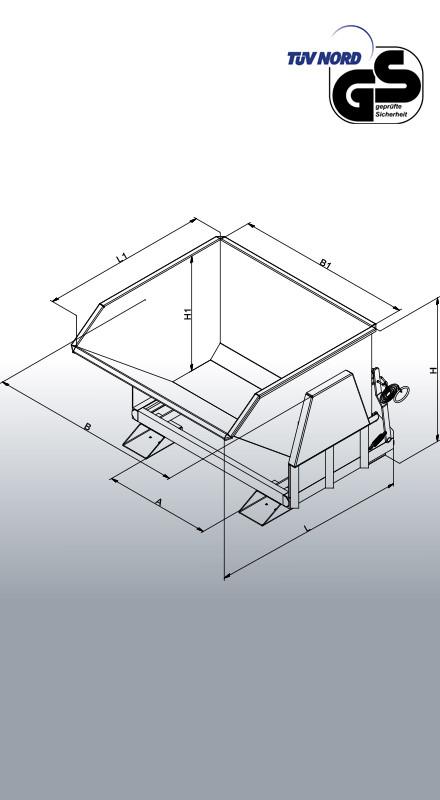 Technische Zeichnung Schwerlast-Kippbehälter 2011