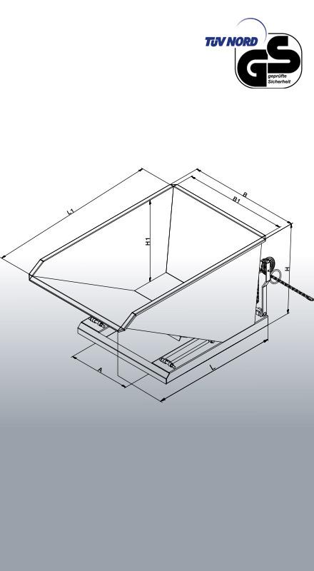 Schüttgut-Kippbehälter 2014 Zeichnung mit Bemaßung