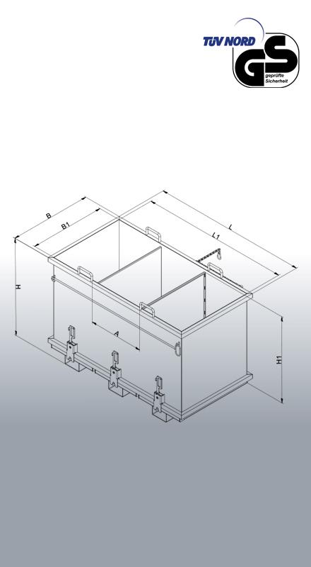 Abfall-Klappbodenbehälter zum Sortieren Typ 2036 Zeichnung