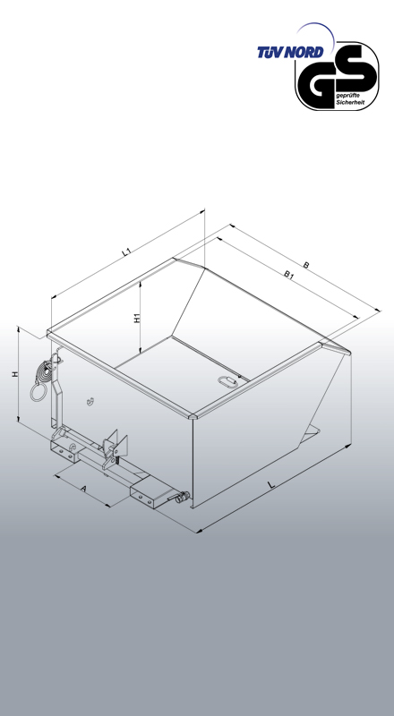 Späne-Kippbehälter 2044 Zeichnung mit Bemaßung