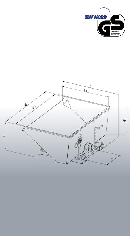 Abrollkufen-Kippbehälter 2023 Zeichnung mit Bemaßung