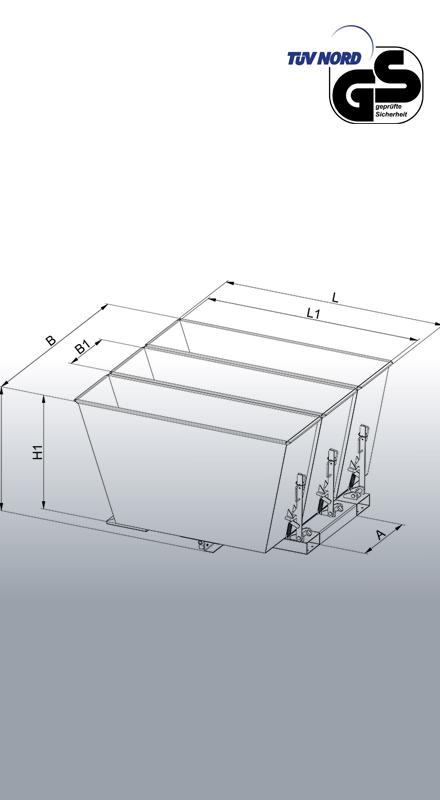 Kippbehälter Sortiersystem 2025 Zeichnung mit Bemaßungt