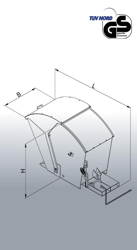 Abfallcontainer 2026 Zeichnung mit Bemaßung