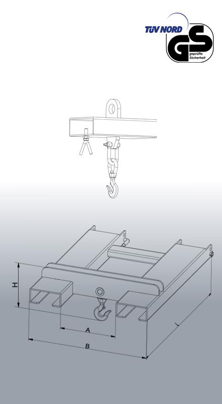 Lasthaken für Stapler und Kran Typ 2084 Zeichnung