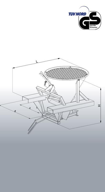 Streugerät für Stapler 2074 Zeichnung mit Bemaßung