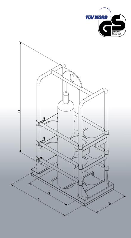 Gasflaschen-Transportgestell 1328 Zeichnung mit Bemaßung