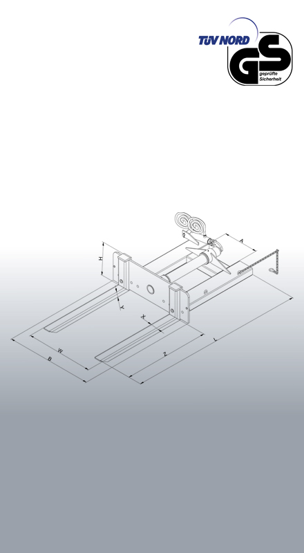Hydraulischer Behälterkipper 2091 Zeichnung mit Bemaßung
