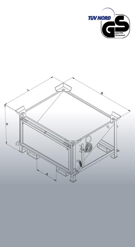 Abfülltrichter 2053 Zeichnung mit Bemaßung