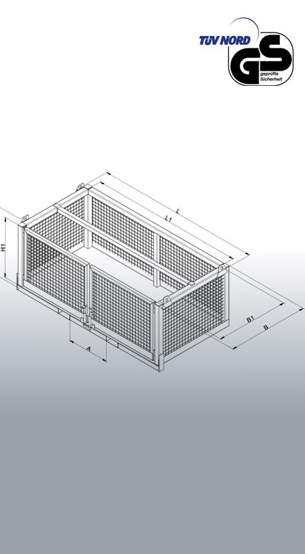 Transportbox für Stapler und Kran 1058 Zeichnung und Maße