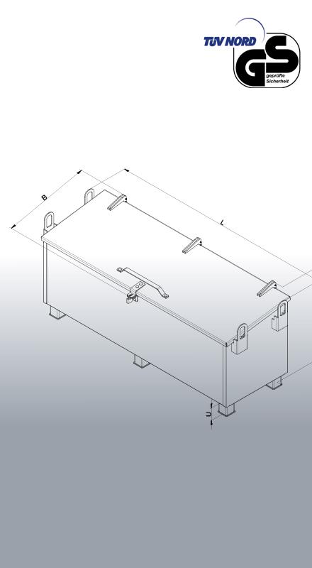 Werkzeugkiste aus Metall 1210 Zeichnung und Maße