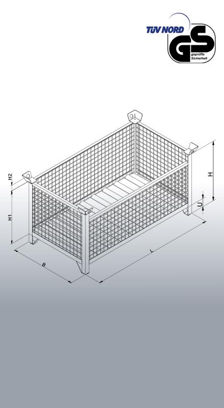 Gitterbox-Stapelpalette 1315 Zeichnung und Maße