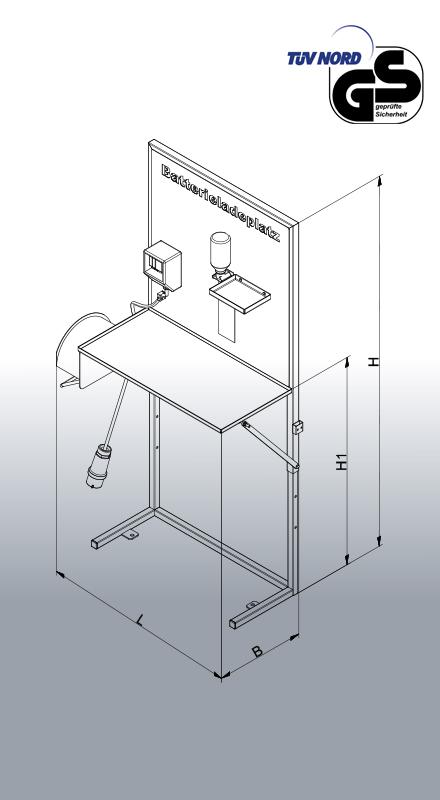 Batterie-Ladeplatz 2116 Zeichnung und Maße
