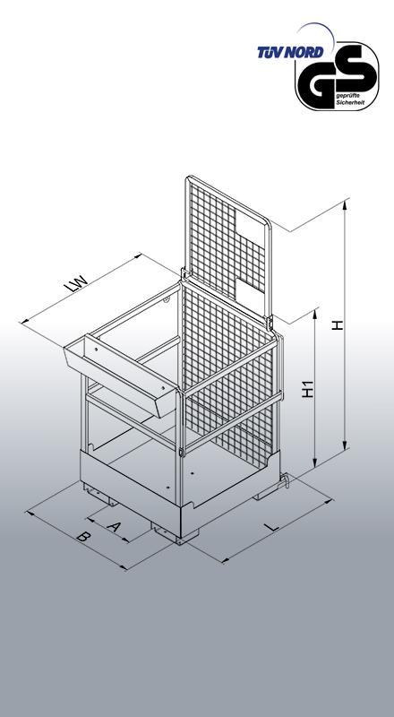 Arbeitsbühne für Stapler Typ 1073.5 Zeichnung